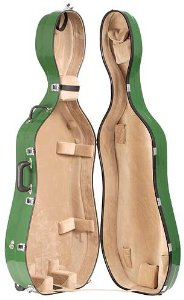 Bobelock 2000W Fiberglass Green/Tan 4/4 Cello Case with Wheels